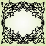 Art nouveau frame. Abstract frame stylized on secession with butter-flies Royalty Free Stock Photo