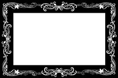 Art nouveau frame. Black frame with white art nouveau style design stock images