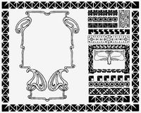 Art Nouveau frame and motifs. Royalty Free Stock Photos