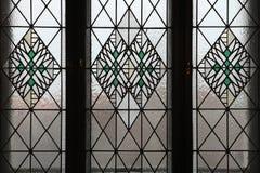 Art Nouveau-gebrandschilderd glasvenster in Hradec Kralove royalty-vrije stock fotografie