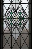 Art Nouveau-gebrandschilderd glasvenster in Hradec Kralove stock afbeeldingen