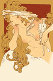 Art nouveau glamor naked woman Stock Image