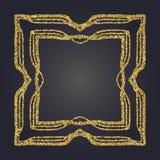 Art Nouveau gold glitter decorative rectangle vector frame for design. Art Deco style border. Art Nouveau gold glitter elegant smooth lines decorative rectangle Royalty Free Stock Photography