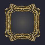 Art Nouveau gold glitter decorative rectangle vector frame for design. Art Deco style border Stock Photos