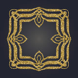 Art Nouveau gold glitter decorative rectangle vector frame for design. Art Deco style border Royalty Free Stock Photo