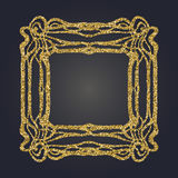 Art Nouveau gold glitter decorative rectangle vector frame for design. Art Deco style border. Art Nouveau gold glitter elegant smooth lines decorative rectangle Royalty Free Stock Images