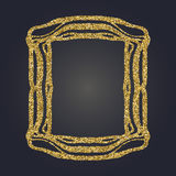Art Nouveau gold glitter decorative rectangle vector frame for design. Art Deco style border. Art Nouveau gold glitter elegant smooth lines decorative rectangle Royalty Free Stock Photography