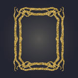 Art Nouveau gold glitter decorative rectangle vector frame for design. Art Deco style border. Art Nouveau gold glitter elegant smooth lines decorative rectangle Stock Image