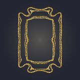 Art Nouveau gold glitter decorative rectangle vector frame for design. Art Deco style border. Art Nouveau gold glitter elegant smooth lines decorative rectangle Stock Photos