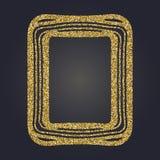 Art Nouveau gold glitter decorative rectangle vector frame for design. Art Deco style border. Art Nouveau gold glitter elegant smooth lines decorative rectangle Royalty Free Stock Photo