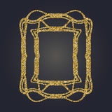 Art Nouveau gold glitter decorative rectangle vector frame for design. Art Deco style border. Art Nouveau gold glitter elegant smooth lines decorative rectangle Stock Image