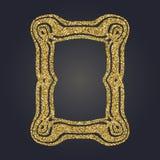 Art Nouveau gold glitter decorative rectangle vector frame for design. Art Deco style border. Art Nouveau gold glitter elegant smooth lines decorative rectangle Stock Photo