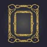 Art Nouveau gold glitter decorative rectangle vector frame for design. Art Deco style border. Art Nouveau gold glitter elegant smooth lines decorative rectangle Stock Photography