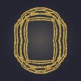 Art Nouveau gold glitter decorative rectangle vector frame for design. Art Deco style border. Art Nouveau gold glitter elegant smooth lines decorative rectangle Stock Images