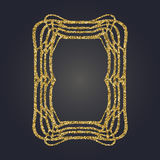 Art Nouveau gold glitter decorative rectangle vector frame for design. Art Deco style border. Art Nouveau gold glitter elegant smooth lines decorative rectangle Royalty Free Stock Image