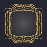 Art Nouveau gold glitter decorative rectangle vector frame for design. Art Deco style border. Art Nouveau gold glitter elegant smooth lines decorative rectangle Royalty Free Stock Photos