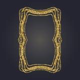 Art Nouveau gold glitter decorative rectangle vector frame for design. Art Deco style border. Art Nouveau gold glitter elegant smooth lines decorative rectangle Royalty Free Stock Images