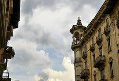 Art Nouveau hus i Turin arkivbilder