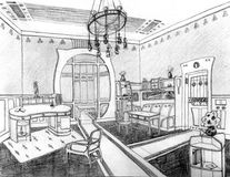 Art Nouveau Interior living hand drawn. Art Nouveau interior, line drawing Royalty Free Stock Photos