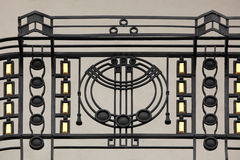 Art Nouveau ironwork balcony in Prague. Stock Photo