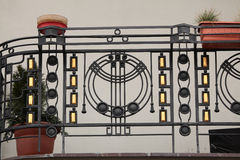 Art Nouveau ironwork balcony in Prague. Royalty Free Stock Photography