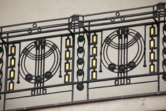 Art Nouveau ironwork balcony in Prague. Stock Photos