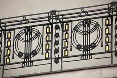 Art Nouveau ironwork balcony in Prague. Stock Photos