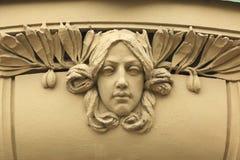 Art Nouveau mascaron in Hradec Kralove, Tsjechische Republiek Stock Fotografie