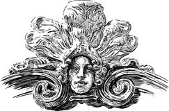 Art Nouveau mask. Vector drawing of an old architectural details in the style of Art Nouveau Royalty Free Stock Photos