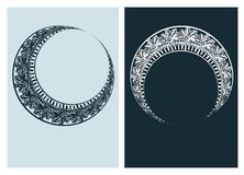 Art nouveau moon vector frame vector pair line isolated vector illustration