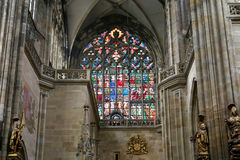 Art Nouveau painter Alfons Mucha Stained Glass window in St. Vitus Cathedral, Prague Stock Images