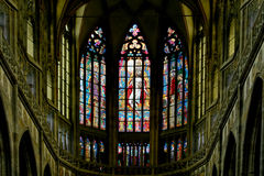 Art Nouveau painter Alfons Mucha Stained Glass window in St. Vitus Cathedral, Prague Stock Photos