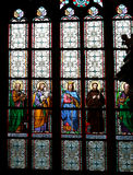 Art Nouveau painter Alfons Mucha Stained Glass window in St. Vitus Cathedral, Prague Royalty Free Stock Photo