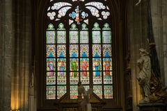 Art Nouveau painter Alfons Mucha Stained Glass window in St. Vitus Cathedral, Prague Stock Photography
