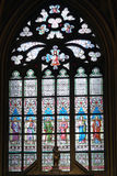 Art Nouveau painter Alfons Mucha Stained Glass window in St. Vitus Cathedral, Prague Royalty Free Stock Photography