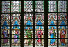 Art Nouveau painter Alfons Mucha Stained Glass window in St. Vitus Cathedral, Prague Royalty Free Stock Images
