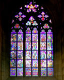 Art Nouveau painter Alfons Mucha Stained Glass window in St. Vitus Cathedral, Prague Stock Photo