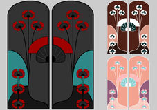 Art nouveau patterns in japanese style Stock Photos