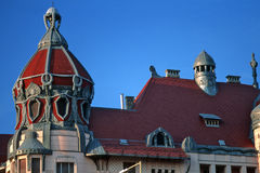 Art nouveau roof. Jugendstil roof in the city of Szeged, Hungary stock images