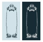 Art nouveau rose vector frame vector pair line isolated vector illustration