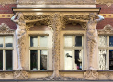 Art Nouveau Sculpture on the Facade of a Palace in Riga Stock Photos