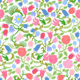 Art Nouveau seamless pattern with fulips and roses. Stock Photo