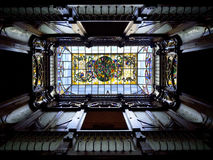 Art Nouveau Skylight - Spanish House. Art Nouveau skylight and atrium in a Spanish house - Casa Novelda in the town of Orihuela on the Costa Blanca in Spain Stock Image