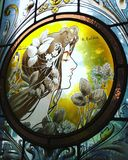 Art Nouveau stained glass artwork. Beautiful Art Nouveau stained glass artwork by Rafaël Evaldre stock images