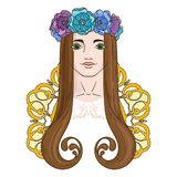 Art in Art Nouveau style with beauty girl in wreath. Royalty Free Stock Photo