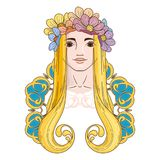 Art in Art Nouveau style with beauty girl in wreath. Royalty Free Stock Photography
