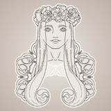 Art in Art Nouveau style with beauty girl in wreath. Stock Photos