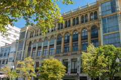 Art Nouveau style facade building. On an avenue of Valladolid (Spain stock photo