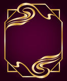 Art Nouveau Style Frame. Luxurious border in gold colors. Element for your design. Abstract flourish frame. Copy space Stock Photography