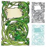 Art nouveau swirly bookplate. Neo-Renaissance style of Art Nouveau in a bookplate style frame Stock Images